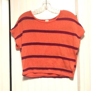 Twinkle Deep Coral Maroon Striped Crop Top